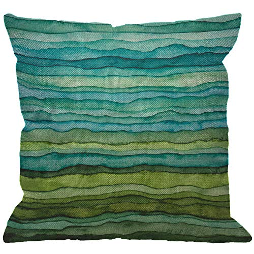 HGOD DESIGNS Watercolor Throw Pillow Cover,Stripped Watercolor Waves Bright Blue and Green Paint Brush Gradient Marine Sea Splash Decorative Pillow Cases Cushion Covers for Home Sofa Couch 18x18 inch (Pillows Blue Green)