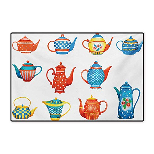 Ceramic Floor Pattern (Tea Party Door Mat Outside Colorful Teapots Various Shapes Sizes Breakfast Ceramic Cute Design Floor Mat Pattern 32