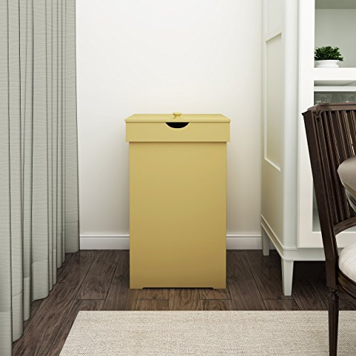 "MULSH Trash Can Gabage Bins Waste Container 13 Gallons Rececling Dustbin Litter Bin Cabinet Wooden Kitchen Wastebaskets Space Saver with Lid in Yellow,16""Wx13""Dx26.5""H"