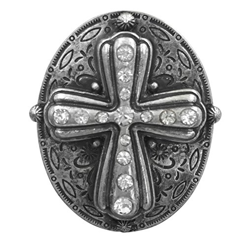 Large Western Look Cross Rhinestones Silver Tone Statement Stretch Cocktail Ring (Oval)
