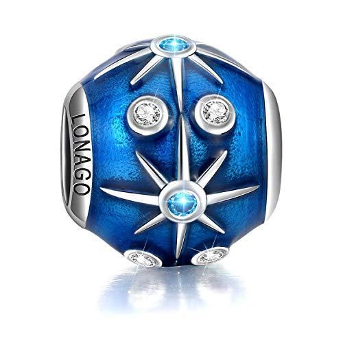 Blue Moon Sterling Silver Beads - LONAGO Vintage Starry Night Sky Twinkling Moon Star Charm 925 Sterling Silver Blue Enamel Bead Fit Pandora Bracelet Necklace (Shining Stars)