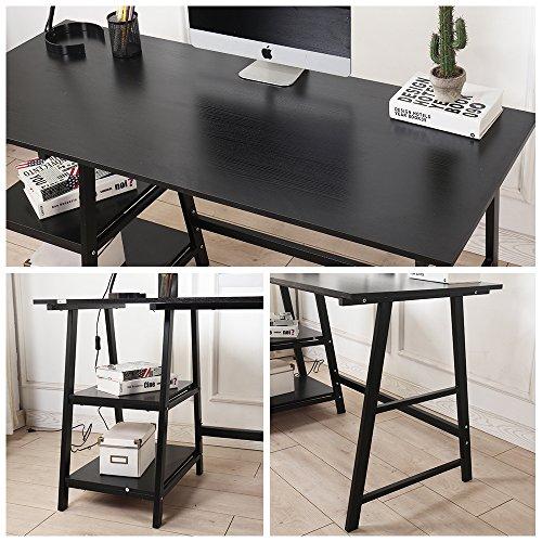 Soges Computer Desk Trestle Desk Writing Home Office Desk Hutch Workstation with Opening Shelf Storage Desk, Black 47 inches CS-Tplus-120BK