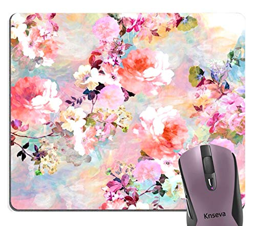 (Knseva Abstract Beautiful Watercolor Pink Flowers Pattern Print Decorative Mouse Pad, Vintage Romantic Floral Painting Art Mouse Pads)