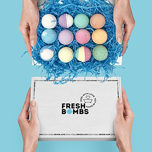 bs Gift Set-12 Mini Pack for Relaxation, Stress Relief – Natural, Fizzy, Essential Oil Infused, Luxuriously Lush Bath Bomb Recipe Handmade in the USA–Unique Gifts for Women and Men (Cream Heart Shaped Gift Box)