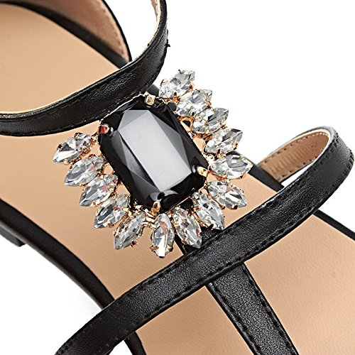 Bead Black Leather Sandals Solid Girls Cow 1TO9 Rhinestones 5A404q