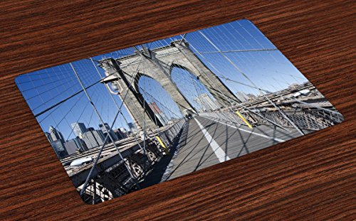 American Gothic Dining Set - Lunarable United States Place Mats Set of 4, Gothic Brooklyn Bridge New York City Famous Urban American USA Scenery, Washable Fabric Placemats for Dining Room Kitchen Table Decor, Pale Blue Grey