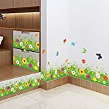 Amaom® Removable Beautiful Green Sunflower Flowers Grass with Flying Butterfly Wall Decals Murals Home art Decor Peel Stick Wall Stickers for Wall Corner Kids room