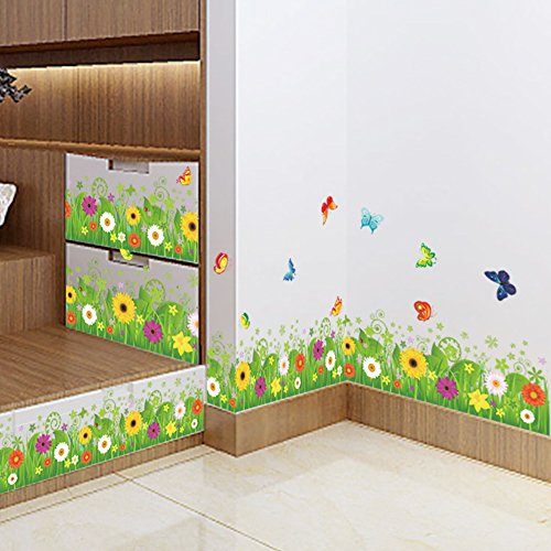 Amaom Removable Beautiful Green Sunflower Flowers Grass with Flying Butterfly Wall Decals Murals Home Art Decor Peel Stick Wall Stickers for Wall Corner Kids ()