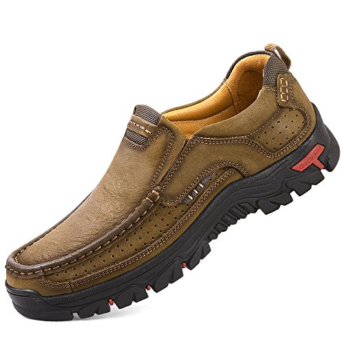 TAIGEL Mens Slip On Loafers Lightweight Leather Casual Walking Shoes Khaki outlet view cheap view outlet 2015 QA0oJuS1
