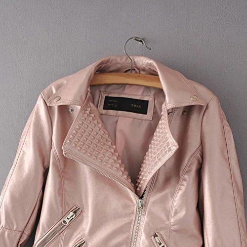 Ladies Style zipper Women Zhhlaixing Per Design Zip Pelle Coats Giacca Locomotive Pu Pink Jacket In Winter Multi Donna txq1YS