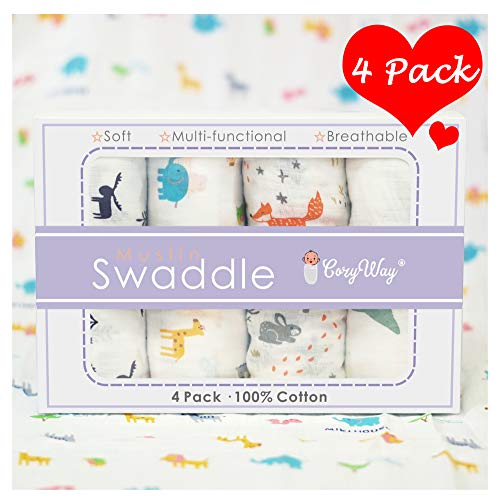 CozyWay Baby Muslin Swaddle Blankets - Baby Cotton Muslin Swaddling Blanket for Boys/Girls/Unisex, 47x47, Bamboo Neutral Swaddle Wrap Receiving Blanket, 4 Pack - Animals/Woodland/Elephant/Deer