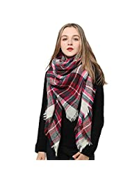 Red Scarf Plaid Blanket Scarf Women Big Square Scarf for Winter Warm Tartan Checked Shawl