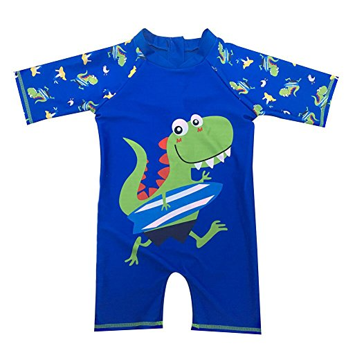 Baby Toddler Boys Dinosaur Rashs Guard Swimsuit One Pieces Bathing Suit Sunsuit With Hat UPF 50+ Blue - Swimsuits X Rated