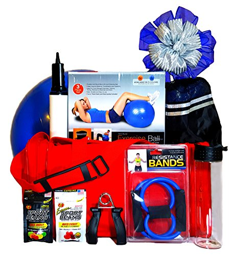 Fitness Fan Gift Set - Extra Large Red Sport Bag with enc...