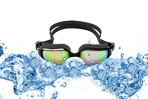 SLS3 Swim Goggles | Comfortable Mirrored Swimming Goggles with Anti-Fog Lenses | TRIATHLON | UV Protection | Free Protection Case for Adults Men Women | Ear Plugs (Black)