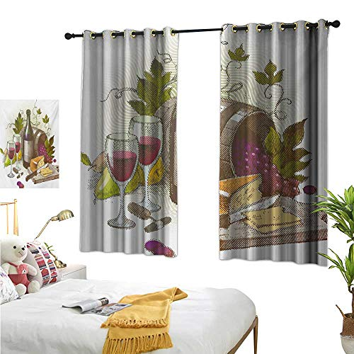 "Double Curtain Rod Wine,Vintage Style Composition with Wine and Cheese Fruits Gourmet Taste Beverage and Food,Multicolor 63""x72"",Home Garden Bedroom Outdoor Indoor Wall Decorations from Warm Family"