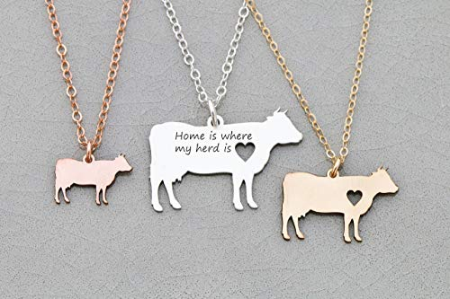 - Cow Necklace - Dairy - IBD - Personalize with Name or Date - Choose Chain Length - Pendant Size Options - 935 Sterling Silver 14K Rose Gold Filled - Ships in 1 Business Day