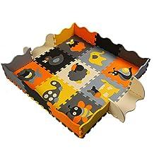 Menu Life JS-P011 Soft Foam Play Mat Interlocking EVA Soft Jigsaw Puzzle Foam Baby Child Play Area Yoga Exercise Mats (32 x 32 x 1cm, 9pcs Play Mats with Fences)
