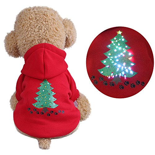 [Royal Wise Puppy Shaking Light Pet Clothes Chrismas Tree LED Costume LED Funny Dog Shirt (Red,S)] (Pets In Funny Costumes)