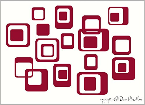 Wall Decor Plus More WDPM168 6-Inch and Smaller Funky Wall R/Squares Vinyl Sticker Decals, Red, 20-Piece ()
