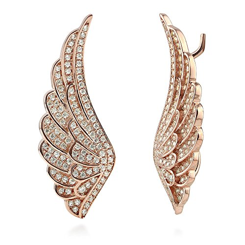 BERRICLE Rose Gold Flashed Sterling Silver Cubic Zirconia CZ Angel Wings Fashion Ear (Heavenly Angel Pins)