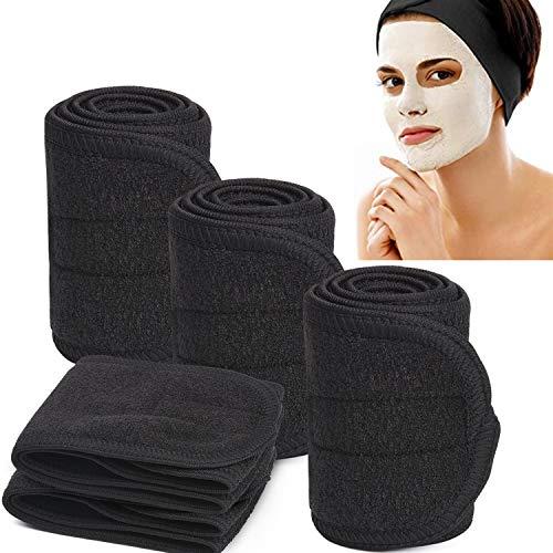 Black Spa Headband, Soft Terry Cloth Headbands Wide Elastic Towel Sports Head Wrap for Men, Nonslip Stretch Women Facial Headband Scarf for Yoga Makeup Bath Shower - 5PCS ()
