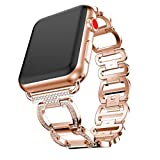 For Apple Watch 1/2/3 42mm,Outsta Luxury Alloy Crystal Stainless Steel Wristband Strap For Apple Watch 1/2/3 42mm (Rose Gold)