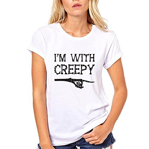 GullPrint Women's Halloween I'm With Creepy T Shirt