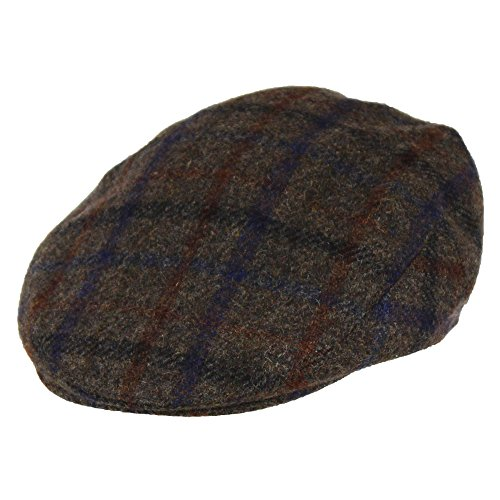 100% Wool Men's Grey Plaid Winter Irish Ivy Cabbie Hat - Lightweight Flat Cap