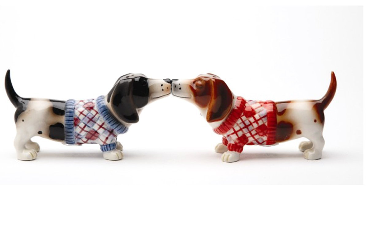 "Pacific Giftware Kissing Basset Hounds in Sweater ""Nothing but a Hound Dog"" Magnetic Salt and Pepper Shaker Set 1"