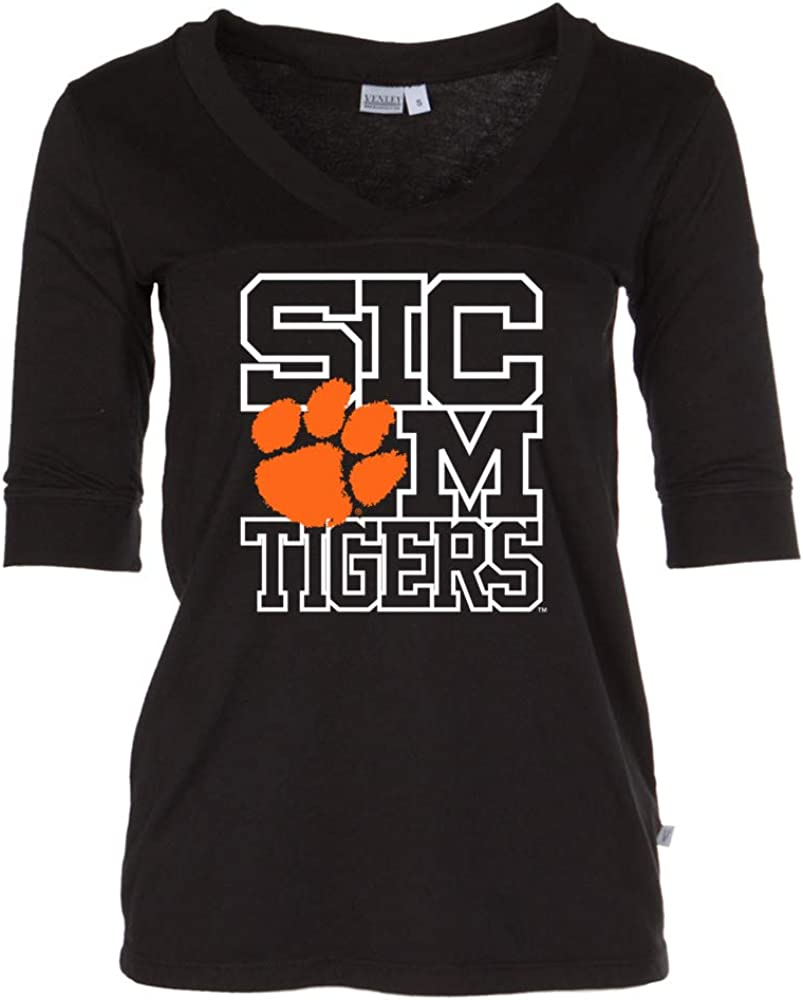 NCAA Clemson Tigers 19CLSIC Womens 3//4 Sleeve Fitted Tee Shirt
