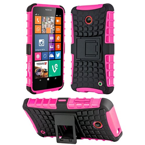 HHI Dual Armor Composite Case with Stand for Nokia Lumia 635/630 - Hot Pink (Package include a HandHelditems Sketch Stylus - Phone Cases For 635 Nokia Girls