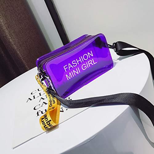 bandoulière carré WSLMHH personnalité Petit la de Sac Paquet à marée Sac Transparente Violet Messenger coréenne Femme de été Version Sauvage gelée qqaOTwBr