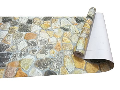 Irregular Stone Bricks Wallpaper, 3D Removable and Waterproof PVC Self-adhesive Wall Sticker for Home Design, Living room, Bedroom, Kitchen, Bar, Restaurant and Bathroom Decoration 1.47 x 33 Ft