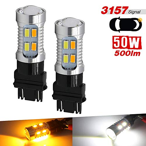 - 2x 3157 Dual Color Switchback 6000K White/Amber 20-LED Front Turn Signal Lamp Light Bulbs