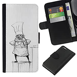 iBinBang / Flip Funda de Cuero Case Cover - Cocinar Dibujo al lápiz Sombrero Pequeño Hombre Cocina - Apple Iphone 5C