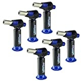 6 Pack Turbo Blue Magnum Jet Flame Refillable Torch Lighter - Powerful Windproof Flame