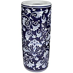 Benzara HomeRoots Cylindrical Shaped Umbrella Stand,Blue And White