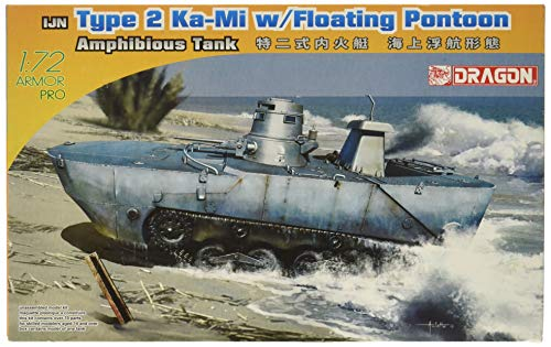 Dragon Models IJN Type 2 Amphibious Tank (Ka-Mi) with Floating Pontoon Early Production Building Kit, Scale 1/72 (Tank Medium Japanese)