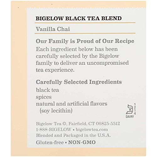 Bigelow Vanilla Chai Tea Bags 20-Count Boxes (Pack of 17). Caffeinated Individual Black Tea Bags, for Hot Tea or Iced Tea, Drink Plain or Sweetened with Honey or Sugar (Vanilla Chai (Pack of 17)) by Bigelow Tea (Image #5)