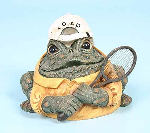 Homestyles Toad Hollow #94079 Figurine Tennis Player with Racquet Character Garden Statue Small 5.5