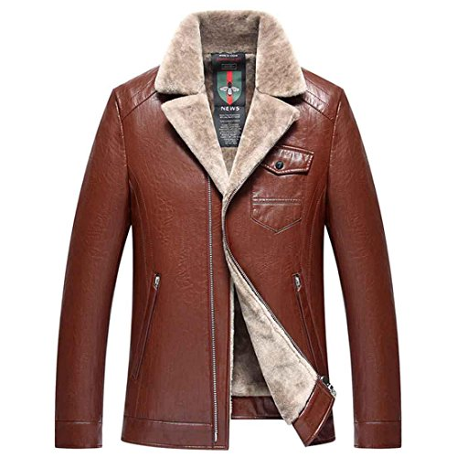 Men Leather Male Jacket brown Jacket Thop 170 m FlySky Leather Casual red Collar Coat Turn Men For Down Winter Jacket Cashmere Men Jacket Men 0nqAHnxWS