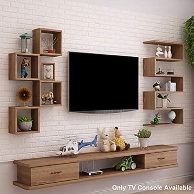 Estante Estante flotante Mueble para TV montado en la pared Fondo de pared Estante para almacenamiento de medios Consola multimedia Estante para TV flotante Soporte para TV con cajón para DVD Caja