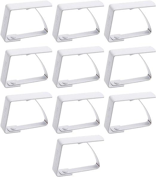in acciaio INOX 10 fermagli per tovaglia Anladia colore: bianco
