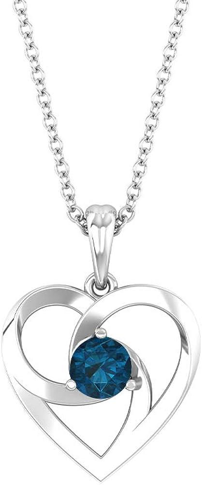Collar de corazón abierto, 1/4 ct, forma redonda de 4 mm, topacio azul Londres, colgante solitario, colgante de amor, joyas de oro, regalo de San Valentín para ella,18K Oro