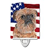Caroline's Treasures Brussels Griffon with American Flag Night Light, 6'' x 4'', Multicolor