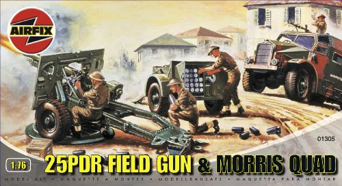 Airfix A01305 1:76 Scale 25pdr Field Gun and Quad Military Vehicles Classic Kit Series 1