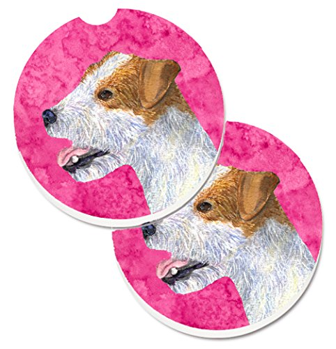 Jack Russell Terrier Coaster - Caroline's Treasures Pink Jack Russell Terrier Set of 2 Cup Holder Car Coasters SS4780-PKCARC, 2.56, Multicolor