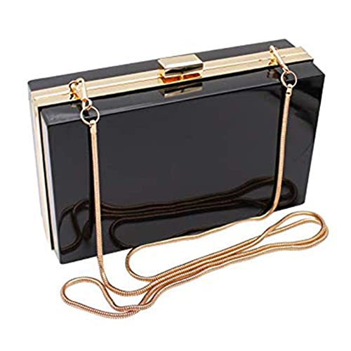big discount sale more photos meticulous dyeing processes L-COOL Cute Transparent Acrylic Shoulder Bag Clear Crossbody Evening Clutch  With 2 Gold Chain(1 Snake Chain) For Women
