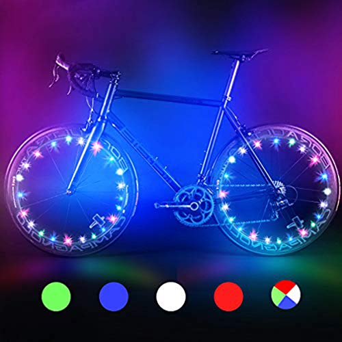 BRIONAC Bike Wheel Lights - Auto Open and Close - Ultra Bright LED - Bike Wheel Spoke/Light String (1 Pack) - Colorful Bicycle Tire Accessories- Waterproof (Green)